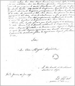 Fragmento de la página final de la carta, con la firma de Huet