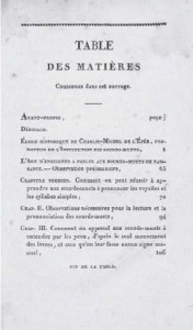 Indice libro Epee 1820