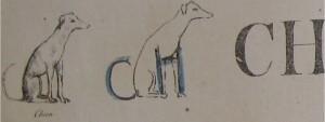 Un segundo ejemplo, correspondiente a la combinación de letras CH (ilustradas con la palabra chien (perro)):