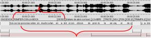 Imagen 4: La sección de discurso en LSC (arriba) dura 1,9 segundos, mientras que su interpretación dura 4,1 segundos.
