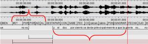 Leyenda Imagen 5: La sección del texto en LSC arriba dura 1,1 segundos mientras que su interpretación dura 2,4 segundos.