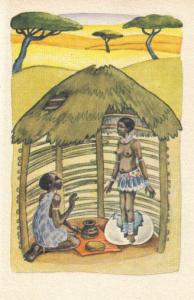 """Lámina del cuento africano""""la muchacha del huevo de avestruz"""""""