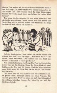"""Una página del libro, correspondiente al cuento ruso """"El bebé de nieve"""""""