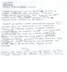 """Vinculación  de un alumno sordo de la historia de Francisco Jimenez como niño migrante, con su experiencia como niño sordo en una escuela de oyentes, después de la lectura y discusión de """"Cajas de Cartón relatos de la vida peregrina de un niño campesino"""" de Francisco Jimenez."""